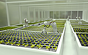 isztlock andresr: 3D robots growing lettuce in a greenhouse - automated processes concepts